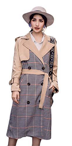 Dames coat mode klassiek geruit trenchcoat herfst lente lange mouwen revers jongen chic vintage twee rijen casual lange mantel outdoorwear met riem