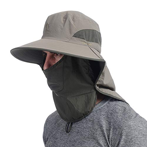 USHAKE Outdoor Fishing Hat with Face Neck Flap Cover, Wide Brim Sun Hat Brown