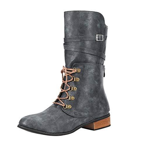 Posional Botas Retro Mujer Navidad Zapatos Casuales con Cordones de Punta Redonda de Cuero para Ladies Botas Cómodas de Caballero de Moda de Tacón Bajo Outdoor Trekking Zapatos