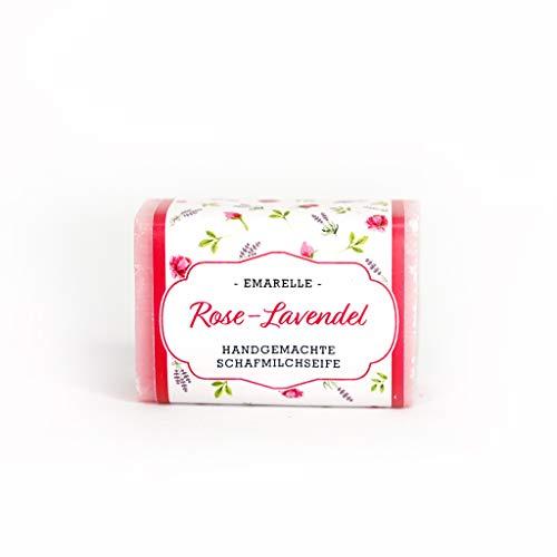 Emarelle Luxus Schafmilchseife Rose-Lavendel, sanfte Pflege für Gesicht und Körper, 7er Pack (7 x 100 g)