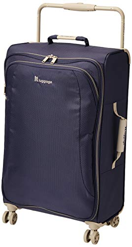 it luggage World's Lightest New York Softside 8 Wheel Spinner, Evening Blue With Cobblestone Trim, Checked-Medium 28-Inch