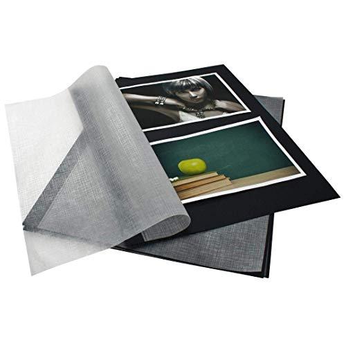 goldbuch 83006 Fotokarton mit Pergamin, 20 Blätter, Für Bella Vista Foto Ringbücher und Ordner, Fotoalbum Füllung, zur Befüllung von Fotoordnern, Format DIN A4, Schwarz