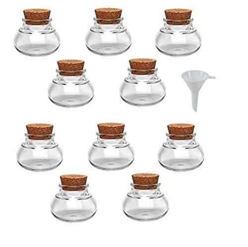 Viva Haushaltswaren - 10 x Mini Gewürzglas 40 ml, runde Glasdose mit Korkverschluss als Gewürzdose & Vorratsdose für Gewürze, Salz etc. verwendbar (inkl. Trichter Ø 5 cm)