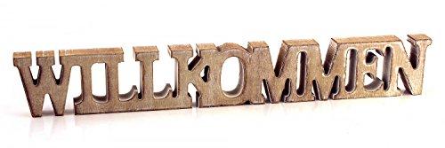 TEMPELWELT Deko Holzaufsteller Schriftzug Willkommen 44 x 6,5 cm aus Holz braun im Vintage Look, Dekofigur Aufsteller Dekoschild modern