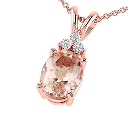 "GNG Solid 10K Rose Gold Diamond Morganite Pendant Necklace, 18"" (rose-gold, Natural Morganite)"