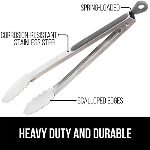 Gorilla Grip Original Grill Tong, 7 Inch Kitchen Locking Tongs, Sturdy and Comfortable Handle Grips, Rust Resistant Stainless Steel, Perfect for Cooking, Grilling and BBQ, Flip Food With Ease, Gray