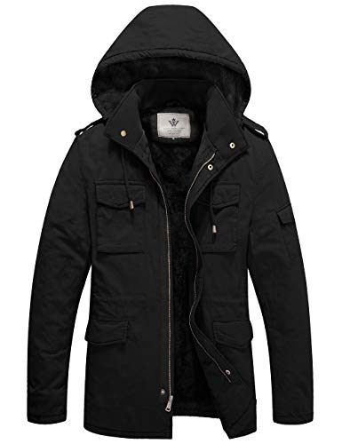 WenVen Men's Heavy Military Sherpa Lined Hooded Parka Jacket Black M