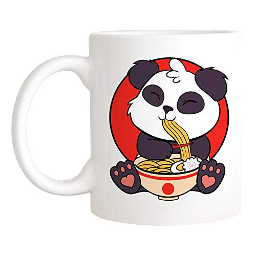 Saviola - Ramen Panda Mug Funny Chopstick Noodles Mug For Ramen Lovers Japanese Ramen Noodle Panda Mug 11oz Novelty Coffee MugCup