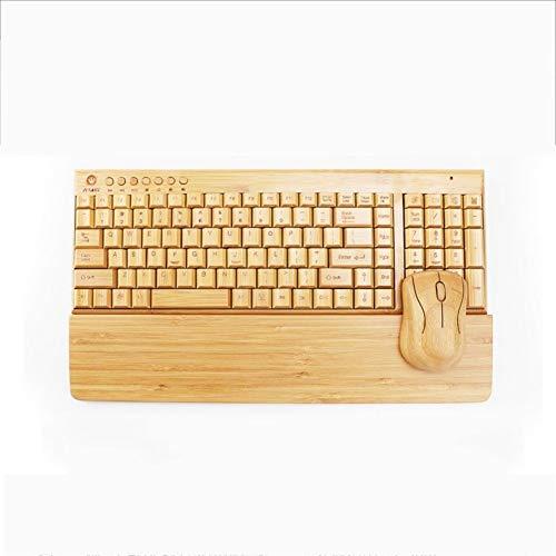 WPCBAA All-bamboe draadloze muis, draadloos bamboe en hout toetsenbord en muis leuning, 2.4GHz ultra-dunne mini stille hand driedelige pak kantoor thuis