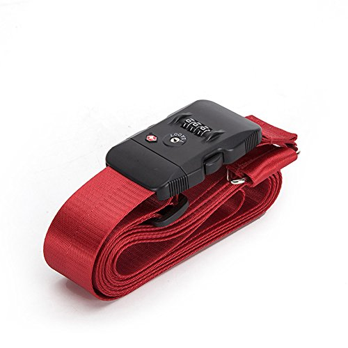 BlueCosto TSA Approved Cross Luggage Straps Suitcase Travel Belts - Red