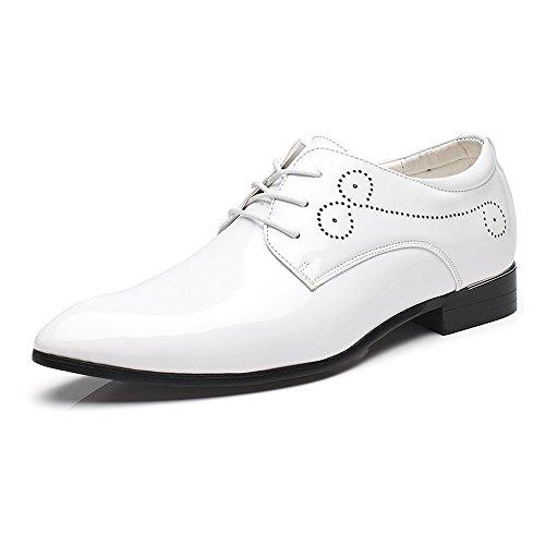 Hilotu Spielraum!Hochzeitsschuhe,Lackschuhe aus Lackleder für Herren Schnüren Sie sich formelle Business Oxford Schuhe (Color : Weiß, Größe : 39 EU)