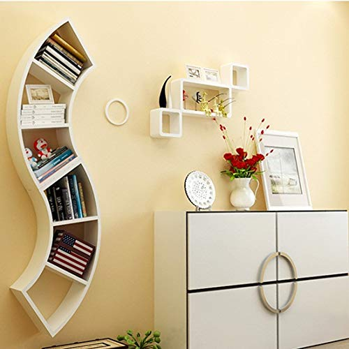BEST&FAST Industrial Style Fan-Shaped Wood-Based Corner Wall Bookshelf Modern Colorful Wall Decoration Multifunctional Vase Holder Flower Stand- White (CJQ-Wall Shelf)