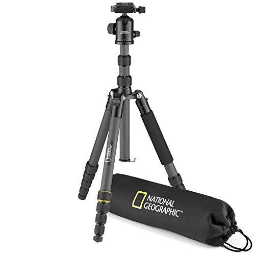 National Geographic NGTR004CF - Kit de trípode de viaje con monopié, fibra de carbono, patas de 5 secc., bloqueo por torsión, peso 8 kg, bolso, rótula, liberación rápida, color negro