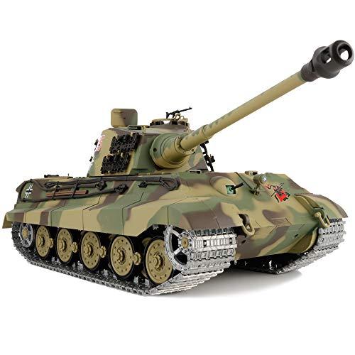 Modified Edition 1/16 2.4ghz Remote Control German King Tiger Henschel Tank Model(360-Degree Rotating Turret)(Steel Gear Gearbox)(3800mah Battery)(Metal Tracks &Sprocket Wheel & Idle Wheel)