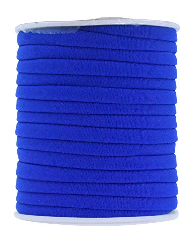 Mandala Crafts Soft Elastic Cord from Spandex Nylon Fabric for Jewelry Making, Sewing, and Crafting (Royal Blue)