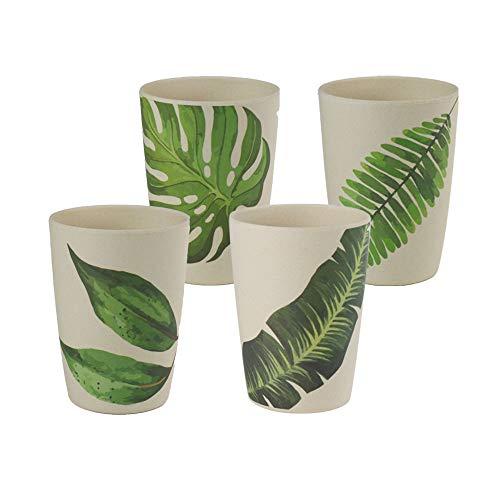 BIOZOYG Set Tazas Reutilizables de bambú orgánico con Motivo Leafs I Set 4to TazasØ 8cm Altura 15,5cm I Vajilla Melamina Ecológica de bambú Set Picnic Melamina de bambú Taza para niños 400ml