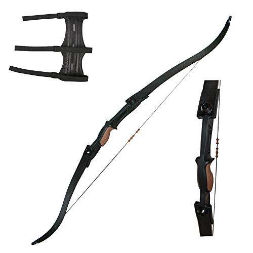 Huntingdoor 54 inch Archery Takedown Recurve Bow Left Right Handed 25Lbs with Bowstring Finger Saver for Hunting Target ShootingBlack