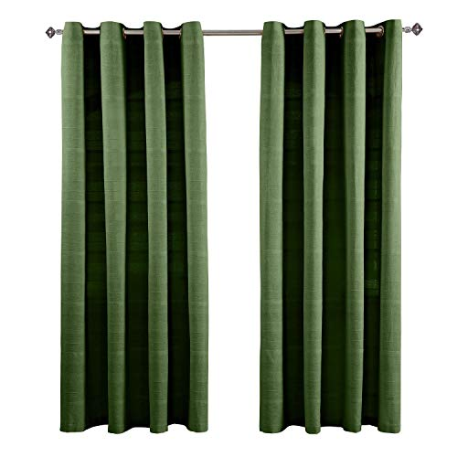 Homescapes handgewebter Vorhang Rajput im 2er Set in Grün, 170 x 230 cm (Breite x Länge), Ösenvorhang/Vorhänge in RIPP-Optik aus 100prozent Reiner Baumwolle, Dekoschal olivgrün