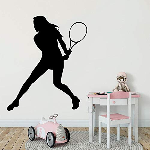 yaonuli Mädchen spielt Tennis Wandaufkleber Aufkleber Tennis Sport Aufkleber Hauptschlafzimmer Wandkunst Dekoration 57x67cm