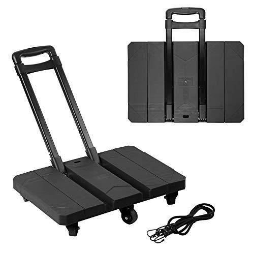UJKIO Extendable Hand Trolley 6-Universal-Wheel Flat Luggage Cart with 3-fold Handle