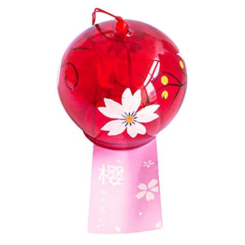 Homyl Glücklich Japanisches Glas Windspiel, schönes Geschenk zu Geburtstag, Valentinstag, Dekoration für Zuhause, Küche, Garten, Fenster - # 8 orientalische Kirsche