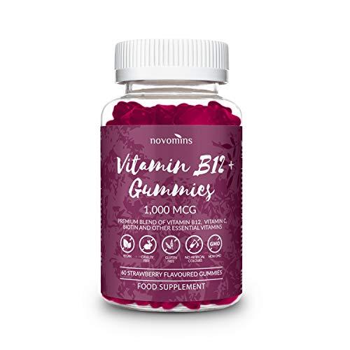 Vitamin B12 Gummies by Novomins Nutrition - Gluten Free and Non-GMO – Vitamin B12 1000 mcg - 60 Vegan High Strength Vitamin B12 Gummies - Multivitamin Gummies