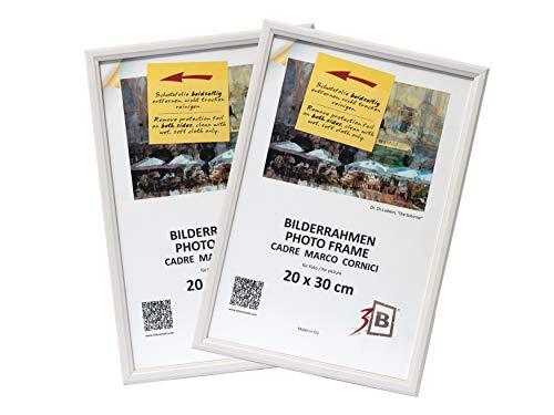 3B Conjunto de 2 Piezas Jena Marco - Blanco - 20x30 cm - Madera sólida Marcos, Marcos de Fotos