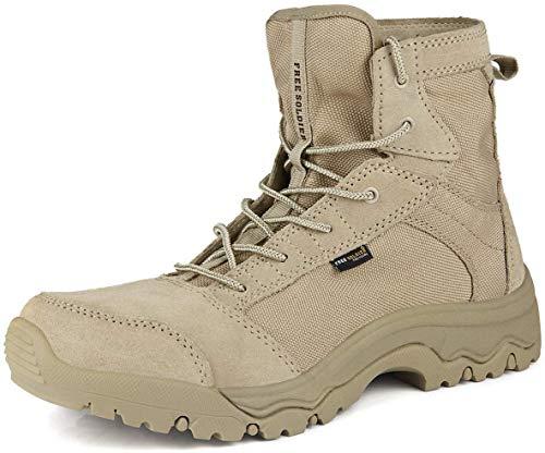 FREE SOLDIER Stivali Militari Uomo Stivali Tattici Estate Esterni Stivali Leggeri e Traspiranti da Combattimento Scarpe da Lavoro di Sicurezza Durevoli(Sabbia Color,42)