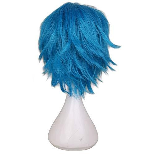 KYT-ma Rouge Blanc Noir Violet Cheveux Courts Cosplay Perruque Homme Party 30 cm Haute température Fibre Perruques de Cheveux synthétiques (Couleur : Green Blue, Taille : 12inches)