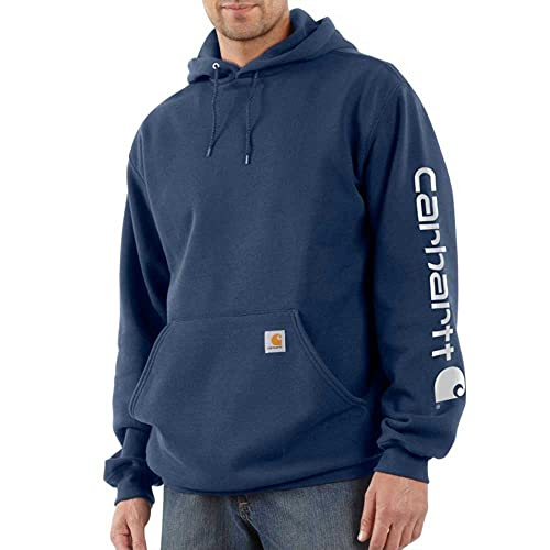 Carhartt Midweight Sleeve Hooded Sweatshirt Workwear Original Fit Pull à Capuche avec Logo sur la Manche Bleu Marine Taille L, New Navy, L Homme