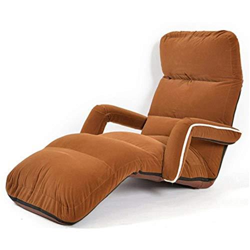 ZoYOL - Sedia reclinabile da pavimento, grande, per camera da letto, soggiorno, regolabile, pieghevole, in morbida pelle scamosciata, per divani e poltrone, divano giapponese, colore: marrone