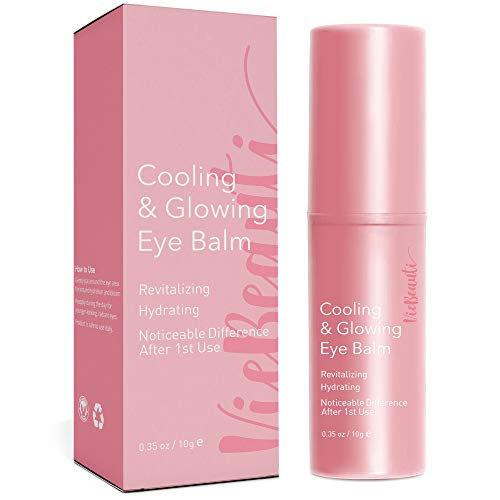 VieBeauti Cooling & Glowing Eye Balm – Hydrating Eye Cream Reduces Puffiness, Discoloration and Wrinkles with Nutrient-Rich Botanicals and Vitamin E – Visible Results in 1 Use (0.35 oz) Pink