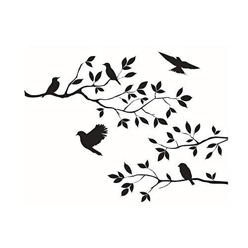 Grifo Personalidad Rama de árbol pájaros Pegatinas de Pared calcomanías extraíbles Sala de Estar Negro