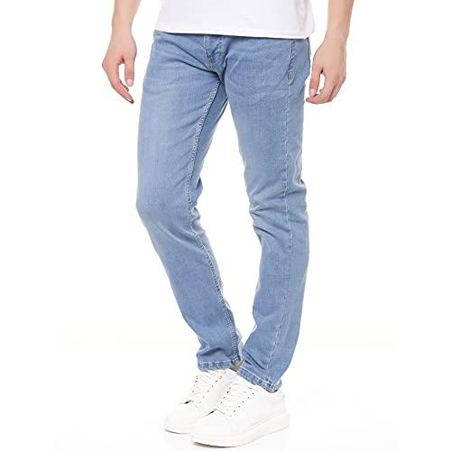 Smith & Solo Jeans Herren - Slim Fit Jeanshose, Hosen Stretch Modern Männer Straight Jungen Hose Cut Basic Washed (34W / 32L, Alex Hellblau)