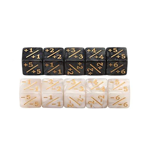QLJ 10x Würfelzähler 5 Positiv + 1 / + 1 & 5 Negativ -1 / -1 Für Magie Das Sammeltischspiel Lustige Würfel Hohe Qualität - Weiß + Schwarz