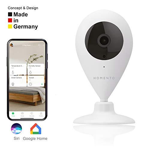 Homento IP Kamera, WLAN Überwachungskamera mit 2 Wege Audio, Babyphone mit Camera, drehbarer Sockel, nutzbar mit Smartphone App – IOS & Android