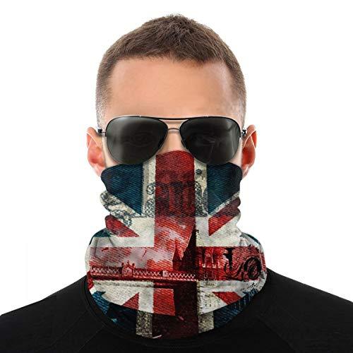 nonebrand Unisex-Kopftuch, Motiv: britische Flagge, multifunktional, nahtlos, weiß, Einheitsgröße