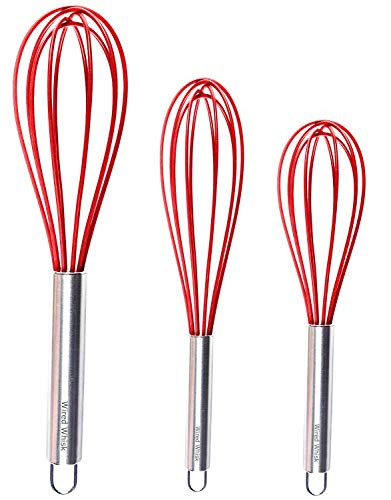 Wired Whisk Silicone Whisk Set of 3 - Stainless Steel & Silicone Kitchen Utensils for Blending, Whisking, Beating & Stirring - (12-inch, 10-inch & 8.5-inch (Red)