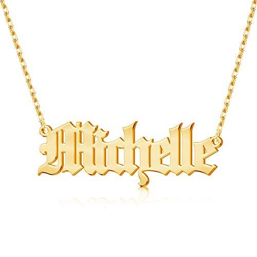 Jecivila Custom Name Necklace Personalized,Heart Pendant Layered Customized Nameplate Necklace for Women 14