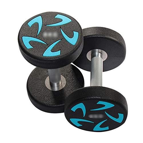 Mancuernas Recubiertas De Goma Cabeza Redonda PU Azul Antideslizantes para El Hogar De Los Hombres Fitness De 20 Kg (Color : Black, Size : 18KG)