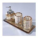 XDD Juego de accesorios de baño de cristal de cristal, 4 piezas de accesorios de baño de lujo, con dispensador de loción/bomba de jabón, taza de boca, bandeja de almacenamiento