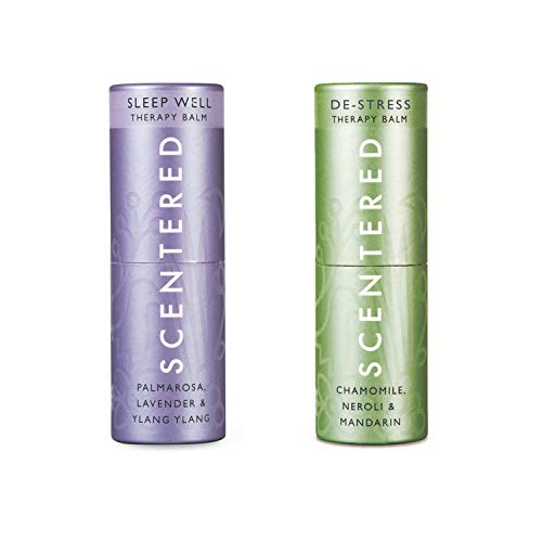 Scentered SLEEP WELL & DE STRESS - Aromatherapy Balm Duo Gift Set - Supports Bedtime Relaxation, Restful Sleep, Calmness & Stress Relief