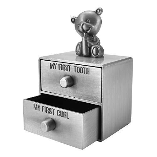 Mogoko [Deutsch Version] baby Kinder Original Holz Haar Milchzahndose Milchzähne Zähne box Kasten Souvenir Aufbewahrungsbox-Kundenspezifische Gravur (Metall Kommode)