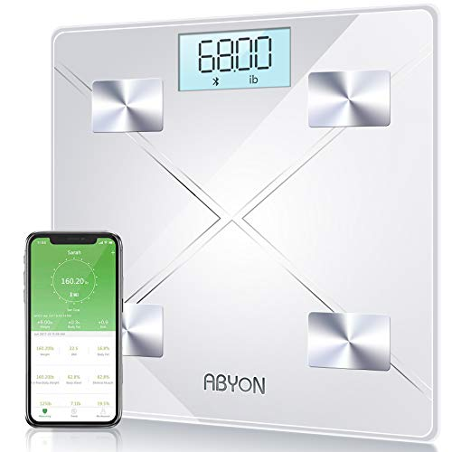 Upgraded Version Bluetooth Smart Body Fat Scales Digital Weight Scale,Bathroom Scale, Auto Monitor 13 Body Composition Analyzer with Smartphone APP. Help for Weight Loss or Health Monitor