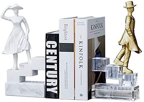 LQ Libro Termina CARACTERÍSTICO Creativo Bookends Decorative Book Shelf Titular de la plataforma de la decoración de escritorio Solicitaciones de Soporte de Hombre y Mujer Resina Set Stopper Book carp