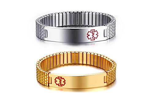 VNOX 2Pcs Medical Alert Wristband Custom Stainless Steel Adjustable Stretch Chain Medical ID Bracelet Sos ICE Personalised Engraving for Men Women,Silver + Gold