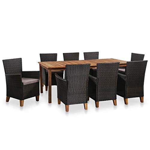FKBED 9pcs Moderno Jardín Juegos de Mesa de Muebles con Cojines, Tablas Trenzado Resina Salón Conjunto al Aire Libre for jardín Patio, 8 Sillón + Mesa de Comedor