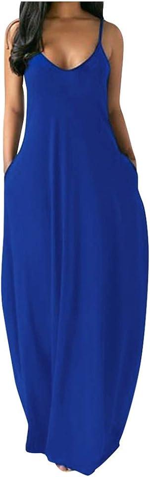 Women Summer Long Dress Straps V Neck Sleeveless Pockets Boho Maxi Casual Dresses with Tie Dye Floral Print