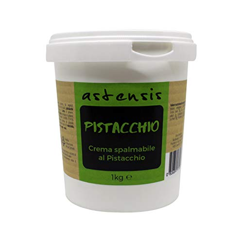 ASTENSIS Crema Spalmabile Gusto Pistacchio - 1 Kg - Adatta Per Dolci, Colazioni, Prodotti di Pasticceria - 34% di Proteine Per Sportivi - Senza Zucchero - 1000 g