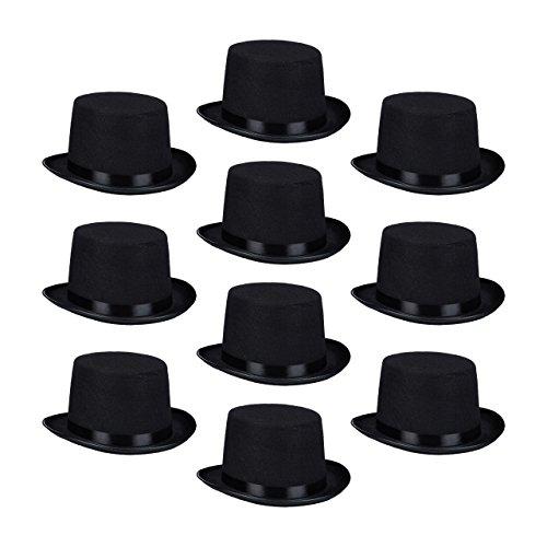Relaxdays 10 x Zylinderhut schwarz, Fasching, Karneval, Zauberer, Magier, Einheitsgröße, Gentleman, Byron, Black